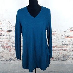 J. Jill S Teal Silk Wool Blend Tunic Sweater